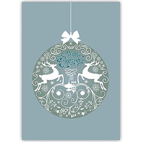 20er Weihnachtskarten Set Schöne Unternehmen Weihnachtskarten mit Hirsch Weihnachtskugel, blau, innen blanko/ weiß als geschäftliche Weihnachtsgrüße / Glückwunsch zu Neujahr / Weihnachtskarte an Firmenkunden, Geschäftspartner, Mitarbeiter