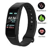 UWATCH Fitness Armband mit Pulsmesser, Fitness Tracker Uhr Wasserdicht IP67 Blutdruckmesser Schrittzähler Uhr Stoppuhr Sport GPS Aktivitätstracker Schlafüberwachung Anruf SMS für Kinder Damen Männer