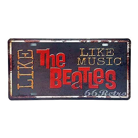 66Retro Like The Beatles Like Music, Embossed Vintage Tin Sign,
