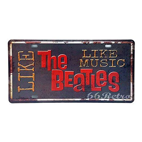66retro wie The Beatles wie Musik, geprägt Vintage Blechschild, Retro Auto Nummernschild, 30cm x 15cm