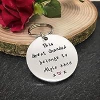 This Great Grandad belongs to keyring, personalised great grandad gift, fathers day gift, Great Grandad keychain, Great Grandad keyring birthday gift
