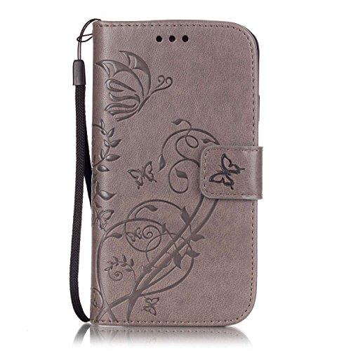 ISAKEN Custodia Cover Samsung Galaxy S4 Mini, Galaxy S4 Mini Flip Portafoglio Cover Wallet Cover Fiori Design in Pelle PU Protezione Caso con Supporto di Stand/Carte Slot/Chiusura - Flower: Grigio