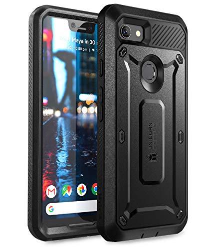 SUPCASE Google Pixel 3XL Hülle 360 Grad Handyhülle Bumper Case Hybrid Schutzhülle Cover [Unicorn Beetle PRO] mit eingebautem Displayschutz und Gürtelclip für Google Pixel 3XL 2018 (Schwarz)