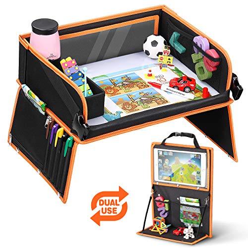 Lenbest Doppelfunktion Kinder Reisetisch, Knietablett Reisetisch(Auto Rückenlehnenschutz) mit Transparenter Zeichnungsfilm, 5 Zeichnungsplatten und 6 Farbpens - Schwarzes/Orange