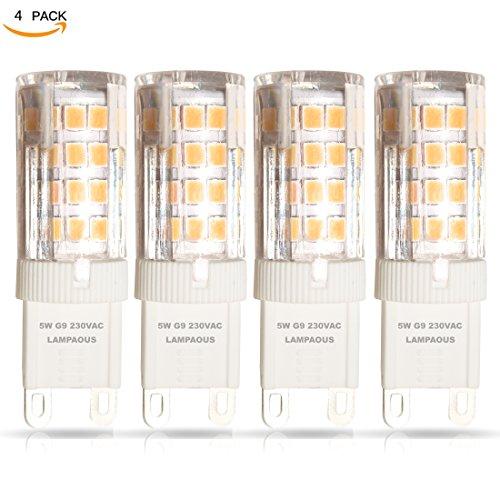 lampaous 5W G9LED Leuchtmittel, ersetzt 40W-Halogen G9Leuchtmittel, warm weiß 3000K mit Super hell 400LM, AC 220–240V, 360Grad Abstrahlwinkel, nicht dimmbar, CRI > 85, 4Packungen