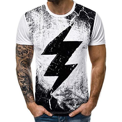 Julywe Herren Blitz Kurzarm T-Shirt Pur Einfäbige Oberteil Junge GrundlegendeTops Herrenweste Coole Eule T-Shirt für Männer Men's Sleeveless Blouse Sportliches Unterhemd Täglich Tragen -