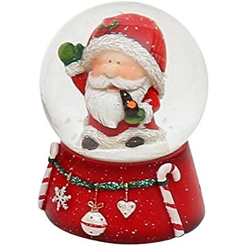 Bella e originale palla di vetro con neve. Disegno: Babbo Natale, circa 6,5 x 5 cm/ Ø 4,5 cm