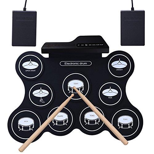 ROLL-UP E-Drum, YOSASO Elektrisches tragbares Trainings-Drum Pad mit 9 Pads, tragbare Folding Drum mit 2 Pedalen und 2 Drumsticks für Kinder und Anfänger