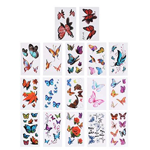, Schmetterlingsmotiv, wasserfest, Tattoo-Set für Kinder, bunt, 50 Blatt ()