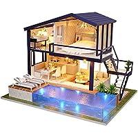 Casa de madera DIY Dollhouse Mini Kit Hecho a mano Doll House Miniature LED Light Cabin Cuento de hadas Decoración del hogar Casa Niñas Niños Vacaciones Regalos de cumpleaños