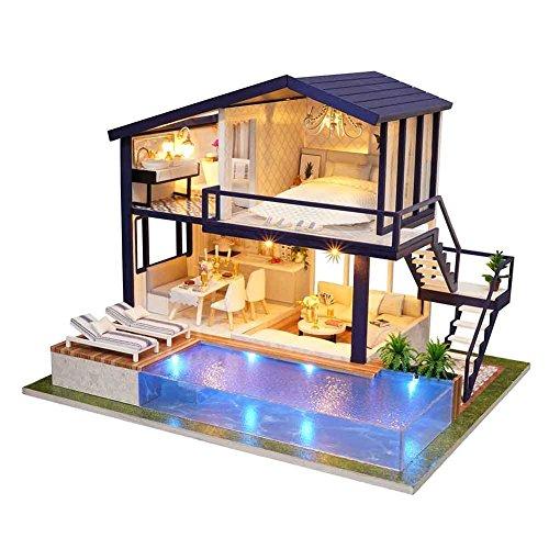 anna-neek casa de bricolaje 3d DIY Dollhouse con luz LED, Kit maqueta de casa de muñecas (madera, casa tiempo apartamento con musique- cumpleaños regalo decorativo una sorpresa sobre el amor