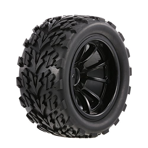 Festnight 4 PZ 1/10 RC off-Road Tire Longway Battistrada Modello 10 Raggi Orlo per 1/10 HSP HPI Redcat RC4WD RC Monster Truck