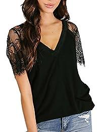 URSING Damen Kurzarm T-Shirt Sexy Tiefer V-Ausschnitt Spitze Patchwork  Kurzarmshirt Sommer Oberteil Super Gemütlich Elegante Bluse… 4e9c10b68d