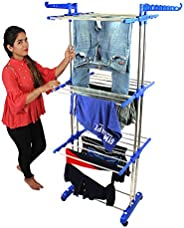 greatbuyz 8026-1 Premium Heavy Duty Cloth Drying Stand/Cloth Dryer Stand, Jumbo - 2 Poll - 3 Layer, Stainless