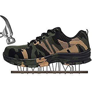 SUADEX Damen Herren Sicherheitsschuhe Sportlich Trekking Wanderhalbschuhe Stahlkappe Arbeitsschuhe Hiking Schuhe Traillaufschuhe  42 EU,  Grün