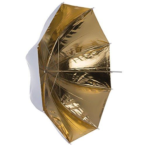 Dörr URN-48GW Lichtformer 2-in-1 Reflektor Schirm (Durchmesser: 93 cm, Bogenspanne: 120 cm) weiß/Gold -