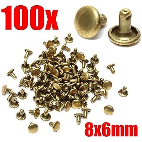 Yongse 100pcs ottone in pelle Craft Rivetti Studs Fastener Poppers riparazione cucire strumento 8x6mm