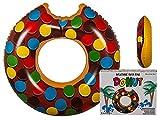 Schwimmring Donut mit Biss Aufblasbarer Donut Schwimmreifen ca. Ø 120 cm Braun/Bunt