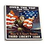 Over The top–Third Liberty Loan vintage poster (Artist: Riesenberg) Usa C. 1918, Ceramica, Multicolor, 4 Coaster Set