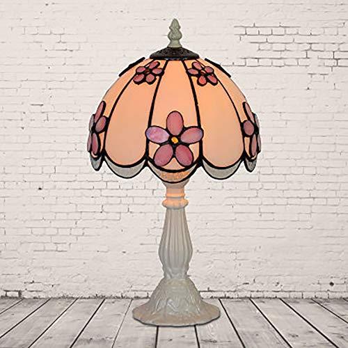 WWLONG Nachttischlampe LED-Nachttischlampe Tiffany-Stil mit bunten Lampenschirm aus Glas, weiche Beleuchtung zum Lesen und Arbeiten-White-Coffee