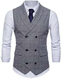 FULIER Men Slim Fit V Neck Double Breasted Business Casual Waistcoat Suit Vest Formal Wedding
