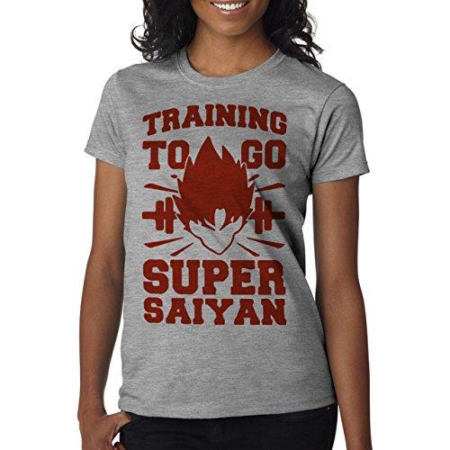 Training To Go Super Saiyan Sport Dragon Ball Goku Red Damen T-Shirt Grau