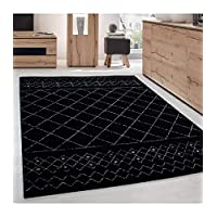 Carpet modern designe Rug Living room low pile grid optics Black Grey - 200x290 cm