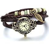 JewelryWe Damen Armbanduhr, Retro geflochten Leder Armband Armreif Armkette Uhr mit Baum Blatt Anhänger, Braun Bronze
