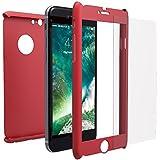 Funda iPhone 6s PLUS Integral Para Ambas Caras + Protector de Pantalla de Vidrio Templado, Mobilyos® [ 360 ° ] [ Rojo ] Case / Cover / Carcasa iPhone 6s PLUS / 6 PLUS