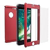 Mobilyos Cover 360 iPhone 6s / 6 Fronte e Retro - Custodia Prottetiva Integrale e Pellicola Vetro Temperato per iPhone 6 / 6s - Cover Totale Full Body e Ultra Slim per iPhone 6s / 6 (Rosso)