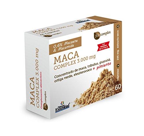 Maca complex 3.000 mg 60 cápsulas con guaraná, tríbulus, ortiga verde, eleuterococo, pimienta negra, vitamina B-2 y B-6