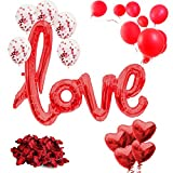 Valentinstag Deko Set XXL 2019 - 21-teilig - Valentinstagsdeko - XXL Mega love Ballon, Rosenblätter, Konfetti Ballons, Herz Ballons, rote Ballons, Dekoration, Geschenk für Sie und Ihn