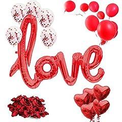 Idea Regalo - Set di Decorazioni per San Valentino XXL 2019 – 21 Pezzi – Decorazione per San Valentino – XXL Mega Love Ballon, Petali di Rosa, coriandoli, Palloncini a Forma di Cuore, Palloncini Rossi, Decorazione