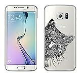 Samsung Galaxy S6 Edge cas par licaso® pour le modèle Chat Noir Miaou Tatouage TPU Samsung S6 Edge silicone ultra-mince Protégez votre Samsung S6 Edge est élégant et couverture voiture cadeau