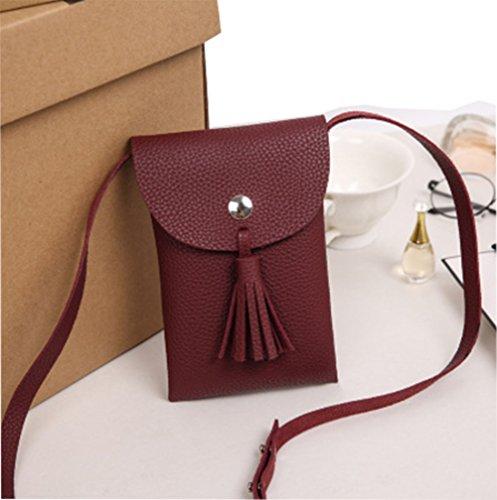 Modakeusu (TM) da donna in nappa stile mini borsa a tracolla sacchetto del cellulare White Red