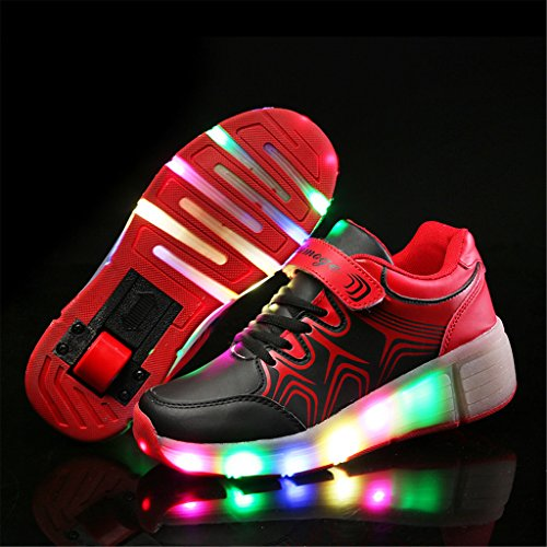 SGoodshoes Baskets Sneakers Lumineuses clignotante Chaussures de Sport LED chaussures à roulettes avec 5 colorés Enfant Fille Garçon Noir