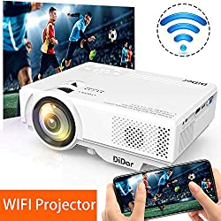 WiFi Projecteur DIDAR 3500 Lumens Mini Vidéoprojecteur Soutien HD 1080P Portable WIFI Retroprojecteur, Multimédia Home Cinéma projecteur Compatible avec HDMI VGA AV SD USB