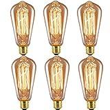Licperron Edison Glühbirne E27 ST64 Vintage Lampe 60 W 220 V Eichhörnchen Käfig Tungsten Filament Glas Antike Glühbirne, dimmbar, 6 Stück