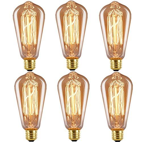 Licperron Edison Glühbirne E27 ST64 Vintage Lampe 60 W 220 V Eichhörnchen Käfig Tungsten Filament Glas Antike Glühbirne, dimmbar, 6 Stück (Vintage Glühbirne Antik)
