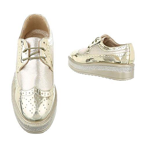 Ital-Design , Chaussures à lacets femme Or