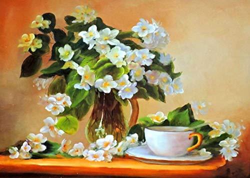 Blume Wasser Gardenia (WXLZY DIY Malen nach Zahlen Gardenia Ölgemälde für Kinder Erwachsene Anfänger16x20 Zoll Leinwanddruck Wandkunst Dekoration)
