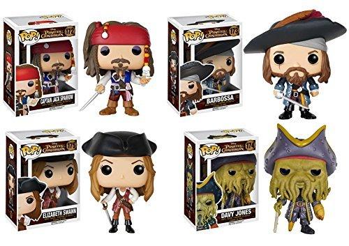 Pop! Disney: Pirates of the Caribbean Captain Jack Sparrow, Barbossa, Elizabeth Swann and Davy Jones! Vinyl Figures Set of 4 by Disney