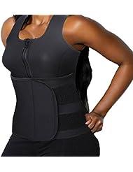 DODOING Slimming Body Shaper Vest Damen Neoprene Sauna Anzüge - Sauna Tank Top Vest Einstellbare Shaper Trainer Gürtel mit Reißverschluss