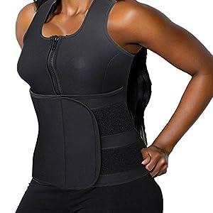DODOING Slimming Body Shaper Vest Damen Neoprene Sauna Anzüge – Sauna Tank Top Vest Einstellbare Shaper Trainer Gürtel mit Reißverschluss