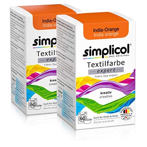 Simplicol Textilfarbe expert India-Orange 1702, 2er Pack: Farbe für kreatives, einfaches Färben in der Waschmaschine oder manuell