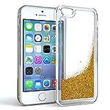 Apple iPhone 5 / 5S / SE Schutzhülle mit Flüssig-Glitzer I von EAZY CASE I Handyhülle, Schutzhülle, Back Cover mit Glitter Flüssigkeit, aus TPU / Silikon, Transparent / Durchsichtig, Gold