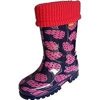 Demar Kids Boys Girls Wellies Rain Boots Warm Fleece-Lined Light Unisex Children Wellington Boots
