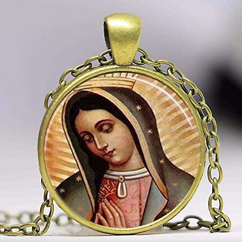 Collar con colgante de Nuestra Señora de Guadalupe Virgen María Sagrado Corazón Arte Religioso Steampunk Cadena de Bronce Vintage Mujeres Joyería