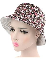 Fletion Mode Printemps et été petit chapeau de bonnet en coton floral chapeau pastoral style pêcheur extérieur chapeau de plage d'été Sun