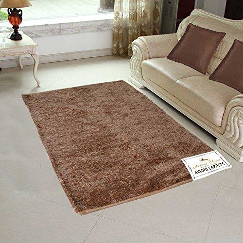 Avioni Handloom Rugs For Living Room Solid Colors Golden Brown Reversible -3 Feet X 5 Feet